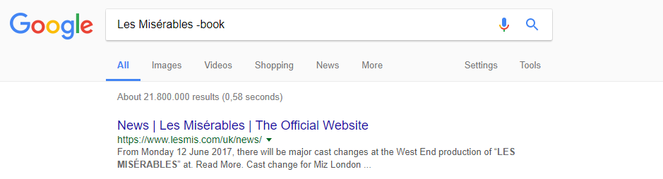 حدف کلمه گوگل